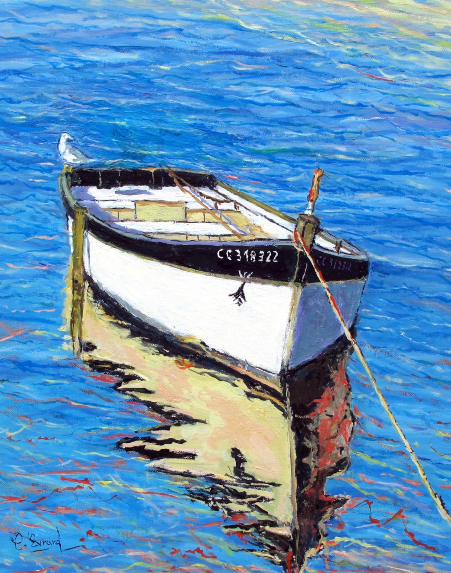 Claude Evrard - La barque et la mouette  (Concarneau)
