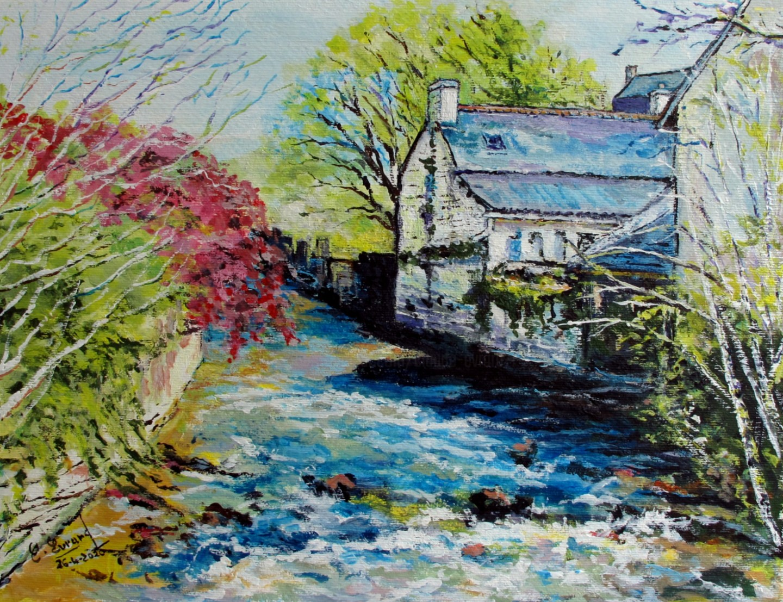 Claude Evrard - Les eaux vives de l'Aven (Pont-Aven)